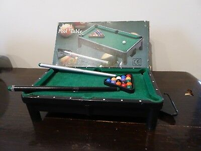 Mini Pool Table Boxed Complete with 2 Cues Balls and Triangle Table Top