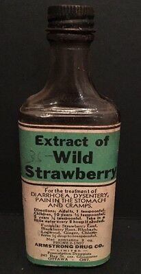 Antique Wild Strawberry Extract Medicine Pharmacy Bottle Ottawa Canada Armstrong