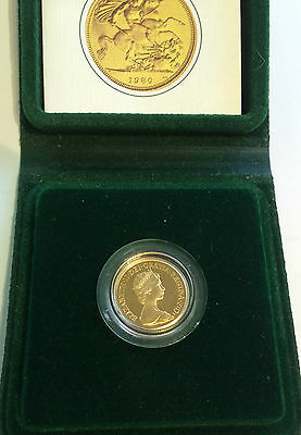 QUEEN  ELIZABETH II  FULL SOVEREIGN PROOF  1980 origional box/ coa