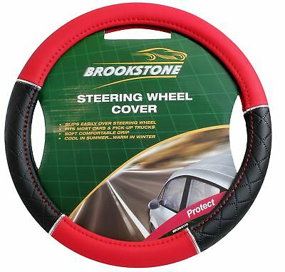 Brookstone Steering Wheel Cover Black And Red Leather Look