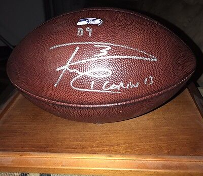 Seahawks Game Used Football Signed By Russell Wilson