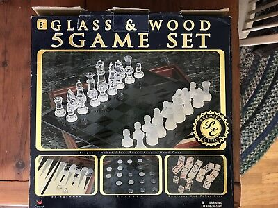 GLASS & WOOD 5 Game Set Chess - Checkers - Backgammon - Dominos - Poker Dice