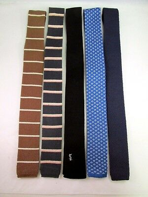 Flat/Square Bottom Cotton Knit Ties Lot of (5)
