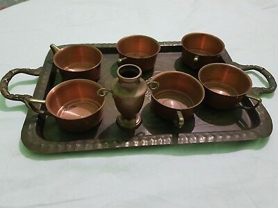 rare antique copper and brass  coffee tea set service with tray and gift item