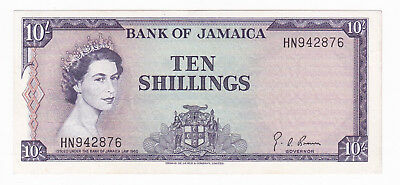 Bank Of Jamaica 1960 10 Shillings Banknote [Au Condition] [F/ship]