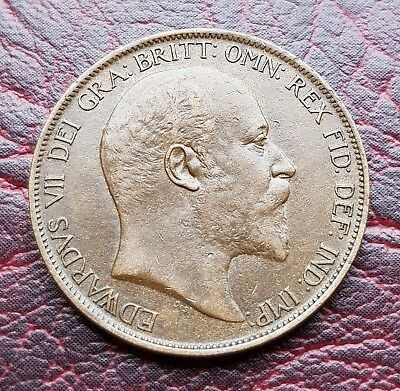 (38T) Superb Uk British 1902 One Penny Coin Good Grade
