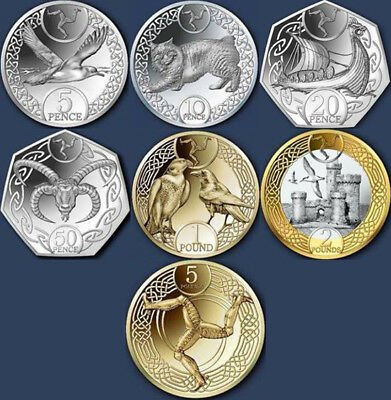 FULL SET  *NEW COINAGE 2017* IOM Manx  7X Coin FULL SET isle of man coin hunt