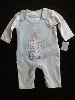 Baby clothes BOY 0-3m NEW! M&S animals blue dungarees/top L/S