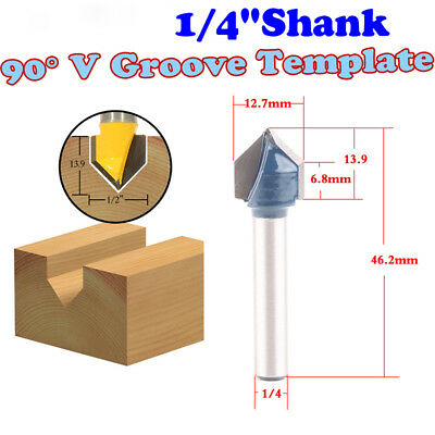 Yonico 14989q 90-Degree V Groove Router Bit with Shank Bearing and 1//2-Inch x 5//8-Inch 1//4-Inch Shank