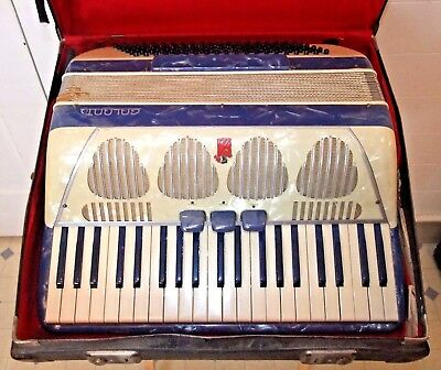 Vintage GALANTI ACCORDION, Beautiful MOTHER OF PEARL, Cream/Blue, VERY COOL CASE
