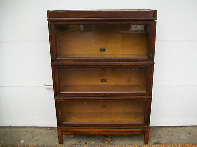 Mission Style Globe Wernicke 3 Section Oak Stack Bookcase Plus Top & Bottom
