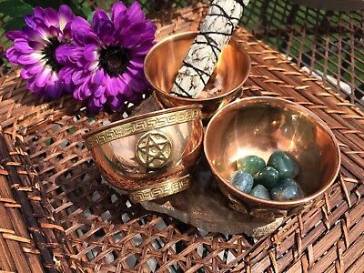 Pentacle 3-INCH Copper Bowl (smudge, incense, crystals, jewelry, keepsakes)