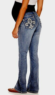 NWT 2X LOVE INDIGO Premium EMBELLISHED BOOTCUT STRETCH DENIM Maternity JEANS $68