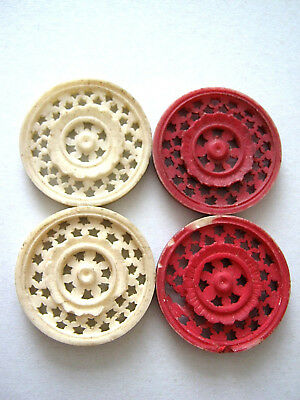 GEORGIAN GAMING TOKENS ANTIQUE X4 X 30mm INTRICATE PIERCED 1820 2 RED & 2 WHITE