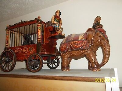 "CIRCUS WAGON, ELEPHANT, MONKEY, 2 BEARS, CLOWN. 36""long x about 16""high"