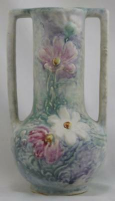 """Weller Silvertone 9.75"""" Vase W/long Handles Daisy Blossoms Awesome Colors Mint"""