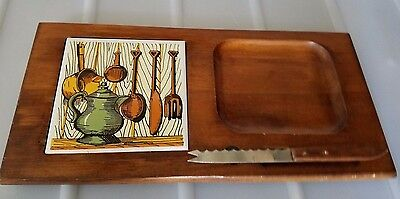 Vtg Wooden Cheese Board & Knife Serving Tray Charcuterie Plate Price import