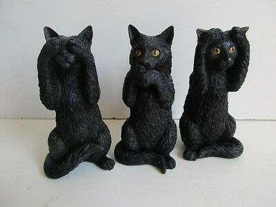 Nemesis Now 3 Wise Cats See,Hear,Speak No Evil Boxed Gothic Mystic Boxed