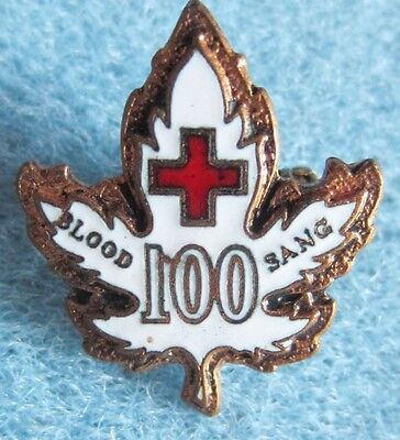 Canadian Blood Donor maple leaf 100 pin