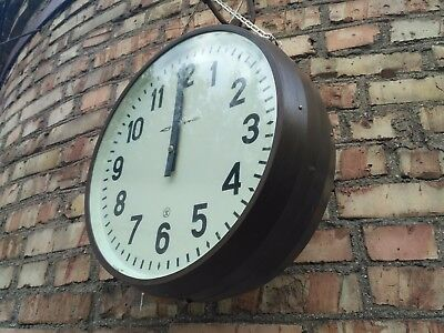 """Vintage Double Sided Clock Industrial Pendant Secondary """"STRELA"""" 80s USSR"""