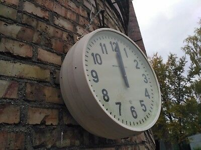 Vintage Double Sided Clock Industrial Pendant Secondary 80s USSR