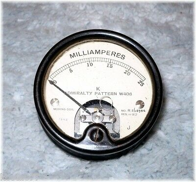 Antique ADMIRALTY PATTERN W406, MILLIAMPERES GAUGE, Meter, Moving Coil