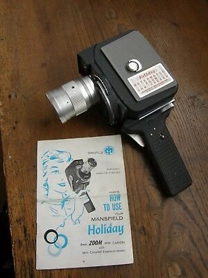 Vintage Mansfield 8Mm Zoom Cine Camera ,very Clean , Instructions,free Uk Post