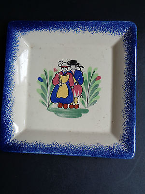 PORNIC QUIMPER PIN DISH FRENCH VINTAGE MAJOLICA SIGNED 12CMS (ref40.4)