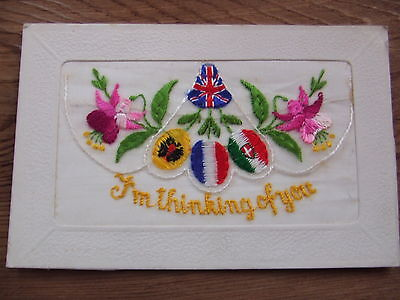 W.war. 1.   Flags Of The Allies.  .   Silk Postcard.    Superb Condition.
