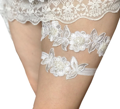 Lace bridal garters set with pearls and sequins wedding garters band P14