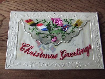 W.war. 1.   Christmas Greetings 1914-1915.  Silk Postcard.  First War Time Xmas.