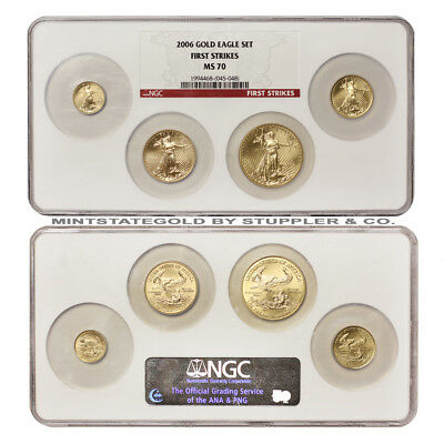 2006 Gold Eagle Set of 4 NGC MS70 First Strikes $50 $25 $10 $5 American Eagles