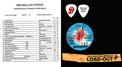 The Rolling Stones - Keith Richards - 2005 Tour Setlist, Guitar Pick, Pass&more