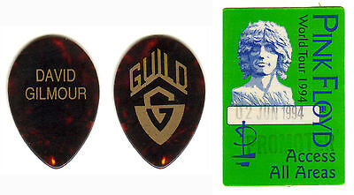 David Gilmour - Pink Floyd - Real Tour Guitar Pick & Backstage Pass - Rare!