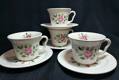 Vintage Laurella by Universal Pink Cottage Roses 4  Coffee Tea Cups and Saucers
