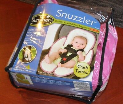 Summer Snuzzler Infant Support for Car Seats Strollers PINK reversible WHITE EUC