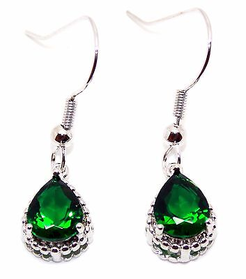 Silver Emerald 4.22ct Drop Earring (925)