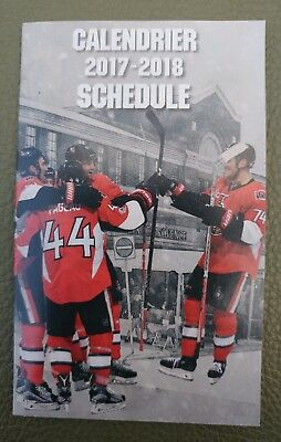 2017 18 Ottawa Senators Hockey NHL Schedule / Sked   **** FREE SHIPPING ****