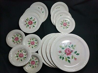 Laurella by Universal Pink Cottage Roses Ntl Btrhood Operative Potters 16 Piece