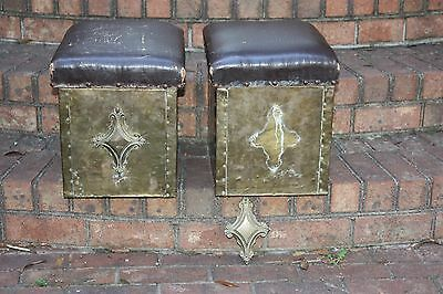 Antique Pair Brass Coal Buckets Andirons Fireplace Stools Vintage English Hinged