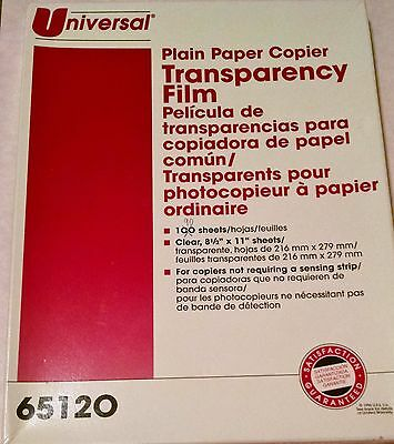 "FREE PRIORITY 90 Sheet UNIVERSAL 65120 Clear Transparency Film 8-1/2"" x 11"""