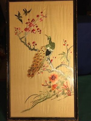 Handmade Crafted Silk Ribbon Embroidery Floral Peacock Fabric Art Tapestry Large