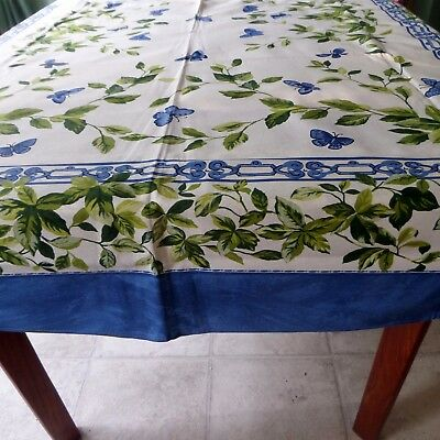 """54"""" x 90"""" Cotton Tablecloth Blue Butterflies Green Leaves Made in Italy"""