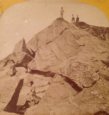 Scenic Giant's Cleft Stereoview Landscape Mountains George H. Scripture NH, USA