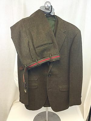Mens Vintage Bespoke Brown Tweed Wool 10 Downing St.The Crescent 3 Piece Suit