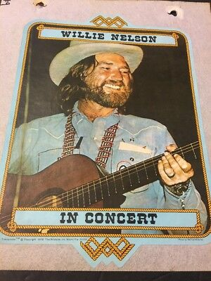 Vintage Iron On T-Shirt Transfer Willie Nelson In Concert