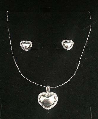 Sterling Silver .925 Heart Necklace with Matching Earrings