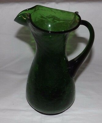 "Forest Green CRACKLE GLASS 9"" Tall Handled PITCHER"