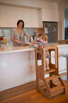 Toddler Chef Stool Bench Cooking Learning Kitchen Tower Helper Bamboo