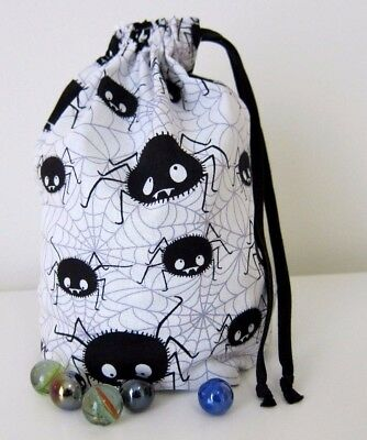 Drawstring Marbles Bag Small Toy Storage Bags Gift Bag Spiders Webs Halloween